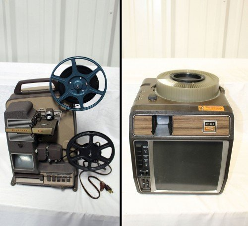 Keystone 110 Film Projector and Caramate 3300 Slide Projector by Value Auction Barn in Columbia MO Antiques Furniture Consignment