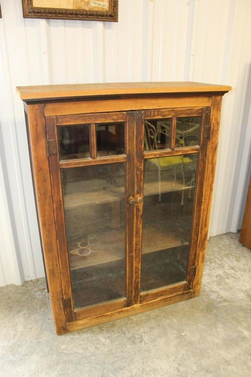 Solid Wood 4 Shelf Cabinet with Dual Glass Doors Bathroom Medicine Cabinet Storage Display Case Antique from Value Auction Barn in Columbia MO Consignment and Auctions (1)