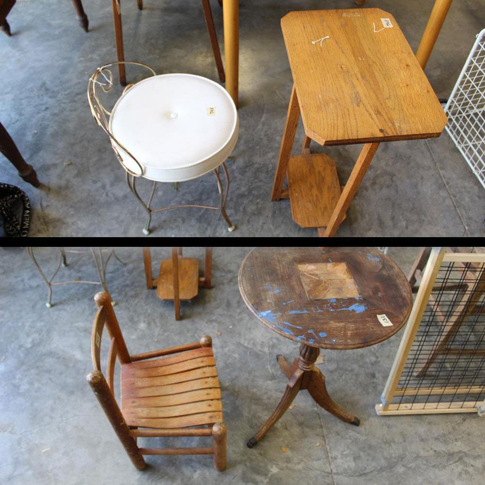 Antique Child Sized Vanity Chairs And Small Kids Tables