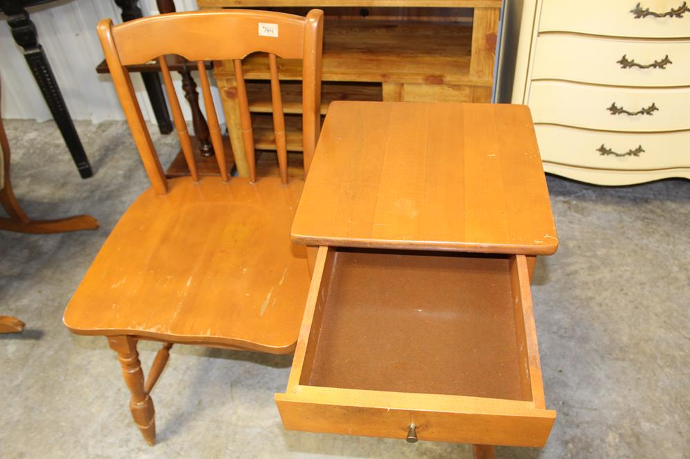 Antique Telephone Table Wooden Chair With Side Desk Value