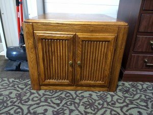 Solid Wood End Table with Double Doors at Value Auction Barn Living Room Furniture from Estate Sale in Columbia MO