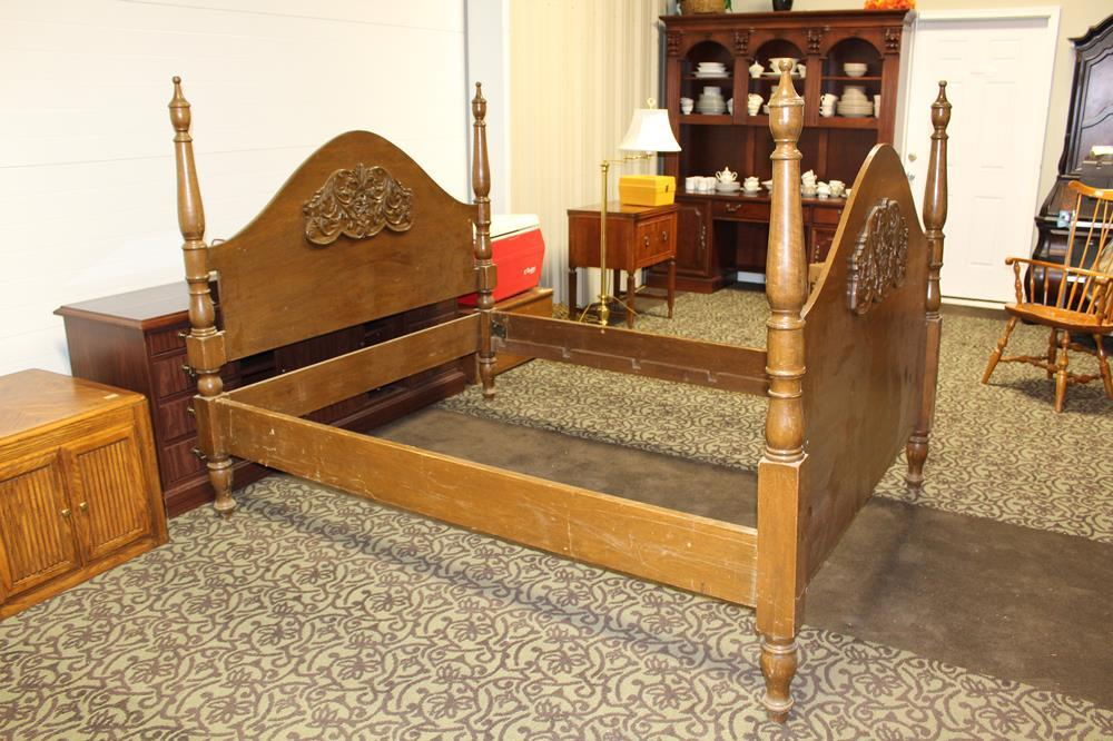 Solid Wood, Four Post, Antique Bed with Beautiful Woodwork Decorative Roses at Value Auction Barn Columbia MO Antiques