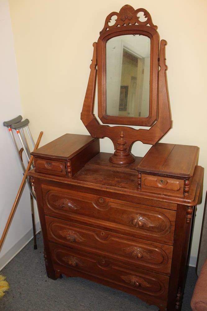Victorian Dresser With Oval Mirror
