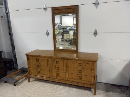 9 Drawer Antique Solid Wood Dresser with Metal Rail mounted Vanity Mirror with Dovetail Joints at Value Auction Barn in Central Missouri Furniture Consignment Shop
