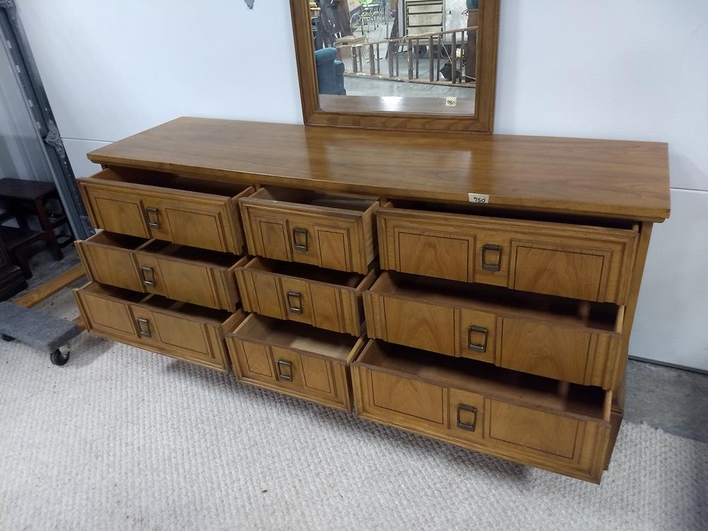 Antique Solid Wood 9 Drawer Dresser With Mirror Value