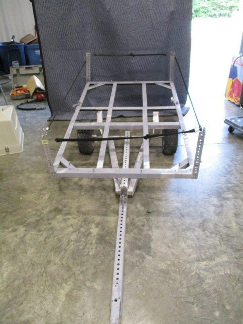 All Steel Home Built Tilt Trailer for Lawn Mower Yard Work Golf Cart at Value Auction Barn in Columbia Missouri Consignment Estate Sales