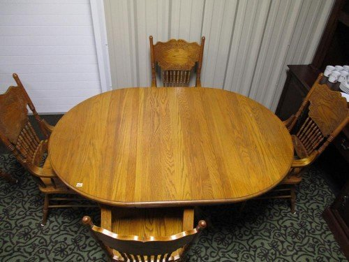 Antique Solid Wood Kitchen Table with Expandable Leaf and 4 Chairs with Armrests Set at Value Auction Barn in Central Missouri Furniture Estate Auctions Consignment Shop