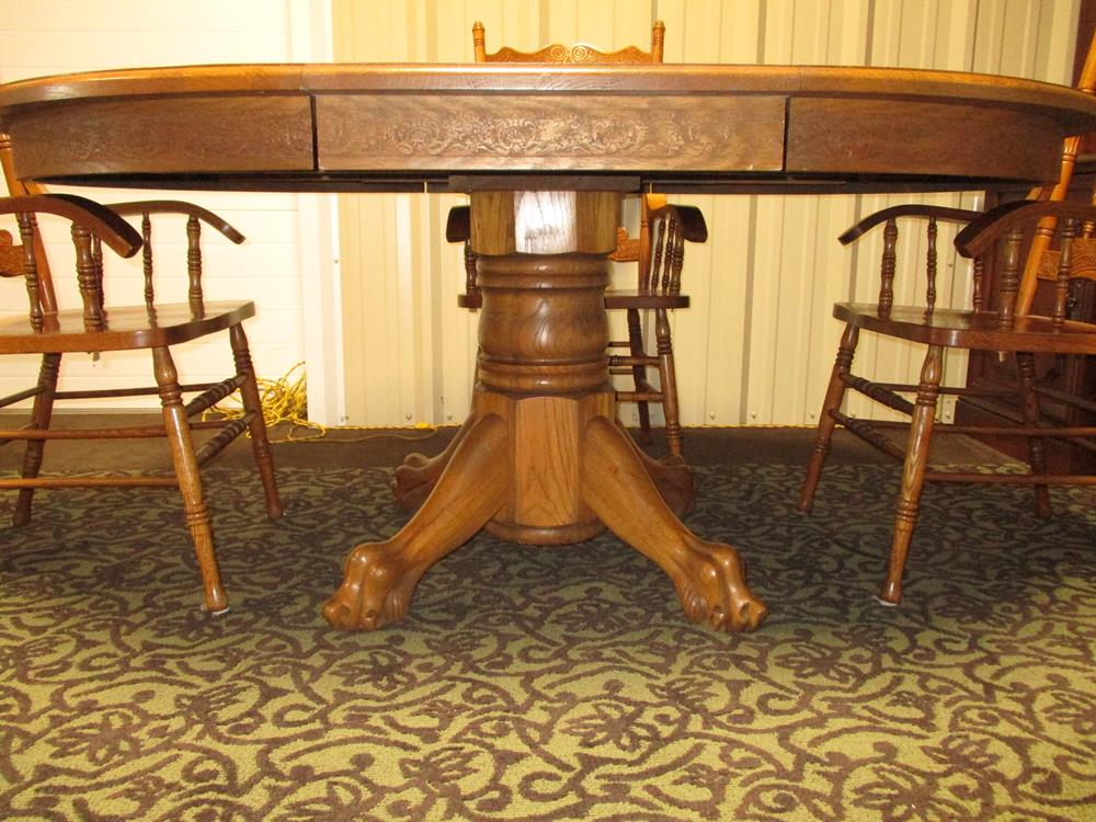 Antique Kitchen Table with Leaf and 4 Chairs with Curved ...