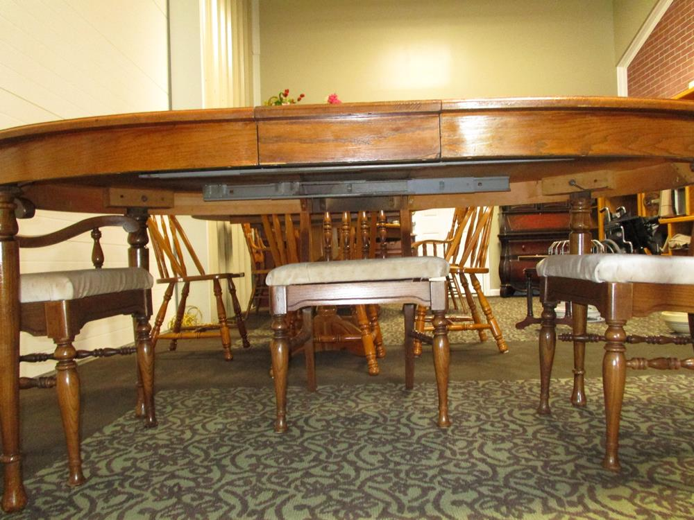 SOLD! Antique Solid Wood Kitchen Table and 5 Padded Chairs ...