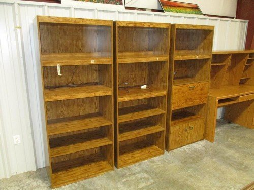 Backlit Adjustable Bookshelves with Doors and Lights at Value Auction Barn Columbia MO Auctions Furniture Consignment Shop