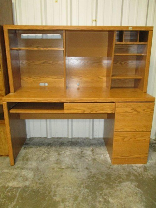 Computer Desk Hutch with Keyboard Tray Adjustable Shelves Drawers and Hidden Space and Corkboard at Value Auction Barn Columbia MO Auctions Furniture Consignment Shop