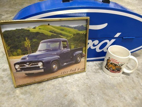 Ford GoBox Steel Powder-Coated Blue with Coffee Cup and Wrenches at Value Auction Barn in Central Missouri Tools Estate Sales