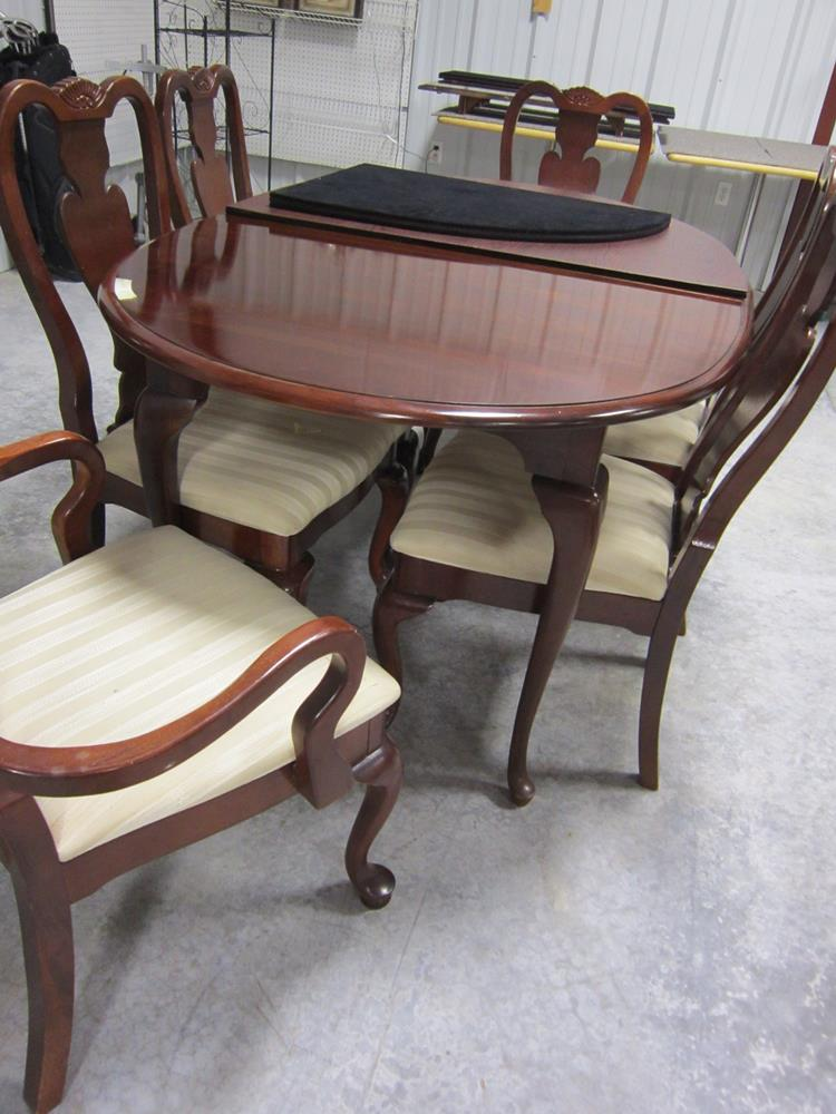 Solid Wood, Oval Kitchen Table with Leaves and Six Padded Chairs
