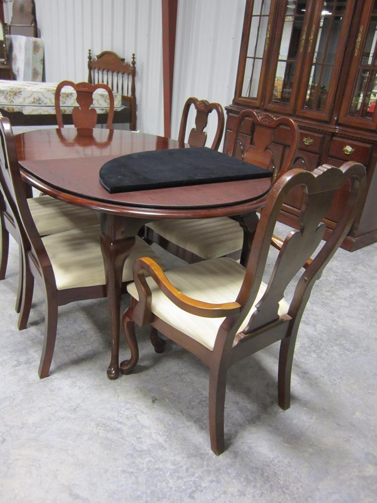 SOLD! Solid Wood, Oval Kitchen Table with Leaves and Six ...