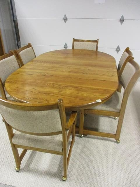 Solid Wood Oval Kitchen Table With Leaves Six Padded
