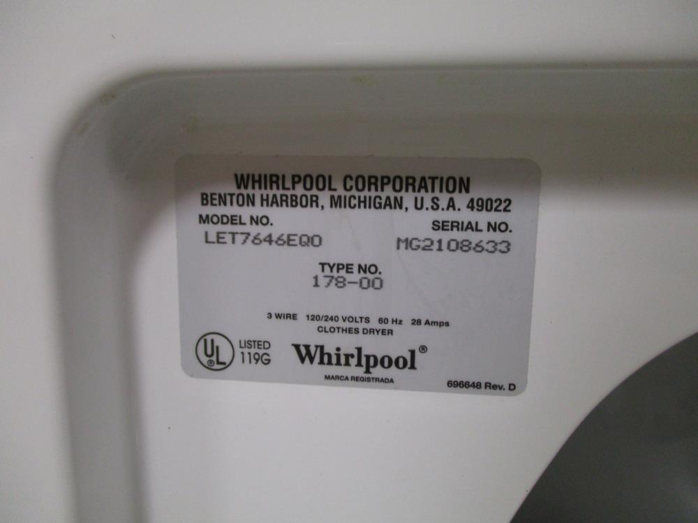 Sold Whirlpool Clothes Dryer And General Electric Ge